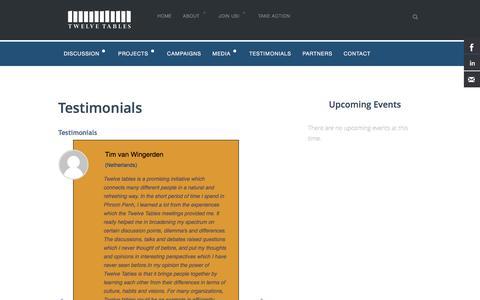 Screenshot of Testimonials Page twelvetables.org - Testimonials | Twelve Tables - captured Feb. 22, 2016