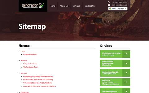 Screenshot of Site Map Page pendragonenvironmental.com - Pendragon Envrionmental Solutions - captured Oct. 2, 2014