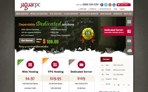 Screenshot of Home Page jaguarpc.com - Web Hosting | VPS Hosting | Reseller web hosting | Dedicated Servers with JaguarPC - captured Sept. 18, 2014