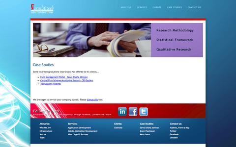 Screenshot of Case Studies Page srushti.in - Welcome to Srushti - captured Oct. 7, 2014