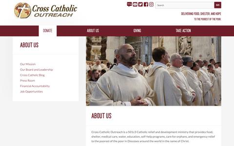 Screenshot of About Page crosscatholic.org - About Us — Cross Catholic Outreach - captured Dec. 16, 2018