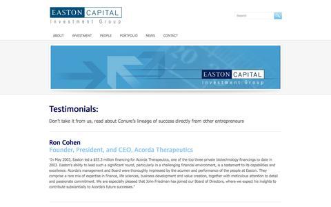 Screenshot of Testimonials Page eastoncapital.com - Testimonials - Easton Capital - captured Oct. 1, 2014