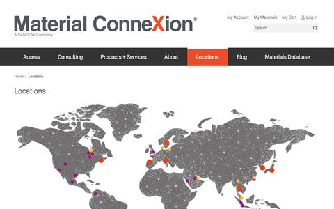 Screenshot of Locations Page materialconnexion.com - Locations - captured July 21, 2016