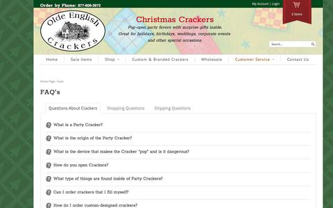 Screenshot of FAQ Page oldenglishcrackers.com - FAQ's | Olde English Crackers | Christmas Crackers - captured April 10, 2017