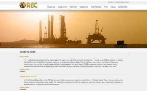 Screenshot of Testimonials Page rec-consultancy.co.uk - REC Consultancy - Testimonials - captured Oct. 7, 2014