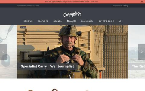 Screenshot of Home Page carryology.com - Carryology | Exploring Better Ways to Carry - captured Dec. 7, 2015