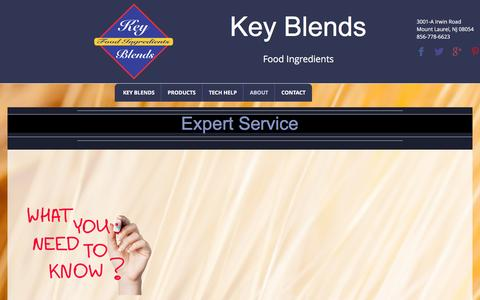 Screenshot of Services Page keyblends.com - Expert Service | Company Info - captured Aug. 9, 2016