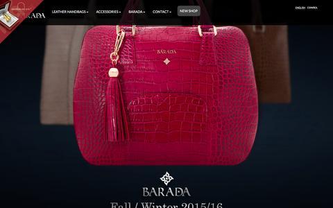 Screenshot of Home Page baradabags.com - Leather Handbags, Fall Winter 2015/2016 by Barada - captured Feb. 15, 2016