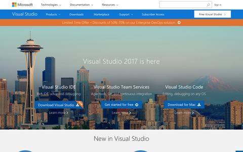Screenshot of Home Page visualstudio.com - Visual Studio | Developer Tools and Services | Microsoft IDE - captured March 31, 2017