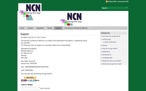 Screenshot of Support Page norwichconference.com - The Norwich Conference Network  » Support - captured Oct. 1, 2014