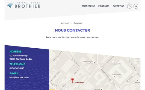 Screenshot of Contact Page brothier.com - Contact | Brothier - captured Jan. 24, 2016