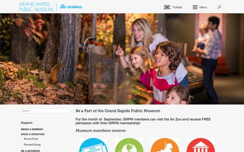 Screenshot of Signup Page grpm.org - Be a Part of the Grand Rapids Public Museum – Grand Rapids Public Museum - captured Sept. 24, 2018