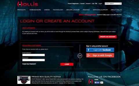 Screenshot of Login Page hollis.com - Customer Login - captured Sept. 24, 2014