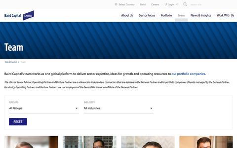 Screenshot of Team Page bairdcapital.com - Our Baird Capital Team | Baird Capital - captured Dec. 6, 2019