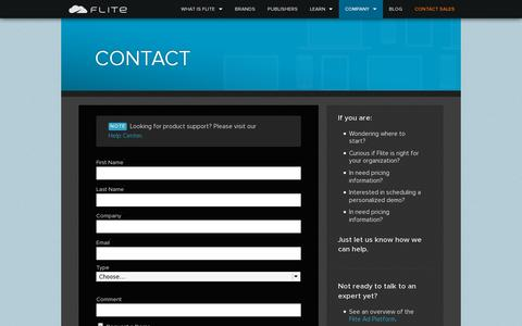 Screenshot of Contact Page flite.com - Contact Us · Flite - captured July 19, 2014