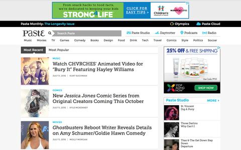 Screenshot of Press Page pastemagazine.com - News :: Paste - captured July 11, 2016