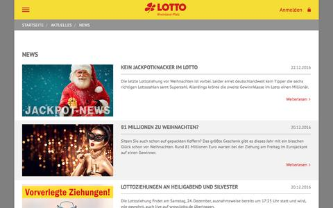 Screenshot of Press Page lotto-rlp.de - LOTTO Rheinland-Pfalz - captured Dec. 25, 2016