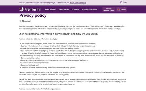 Screenshot of Privacy Page premierinn.com - Privacy Policy | Premier Inn - captured Oct. 18, 2017
