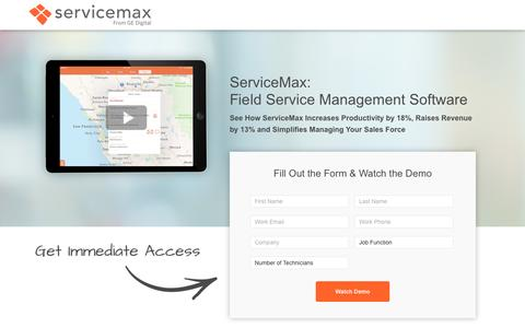 Screenshot of Landing Page servicemax.com captured May 3, 2017