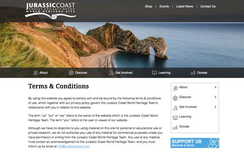 Screenshot of Terms Page jurassiccoast.org - Terms & Conditions - Jurassic Coast World Heritage Site - captured Jan. 14, 2016