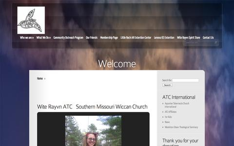 Screenshot of Home Page witerayvn.org - Wite Rayvn Metaphysical Church of the Ozarks - captured Oct. 6, 2014
