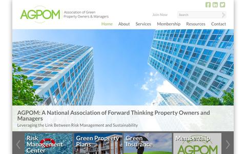 Screenshot of Home Page agpom.org - Association of Green Property Owners & Managers - captured Sept. 4, 2015