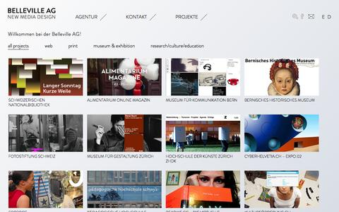 Screenshot of Home Page belleville.ch - Belleville AG | by Andreas Kohli Belleville | new media design - captured Feb. 7, 2016