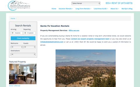 Screenshot of About Page adobedestinations.com - Santa Fe NM Vacation Home Rentals | Property Management Services - captured July 2, 2018