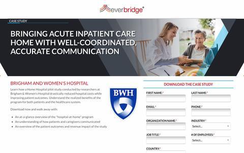 Screenshot of Landing Page everbridge.com - Brigham and Women's Home Hospital Pilot - captured Sept. 11, 2019