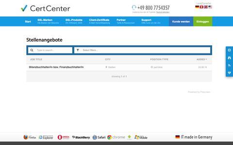 Screenshot of Jobs Page certcenter.de - Stellenangebote (CertCenter AG) - captured Nov. 2, 2016