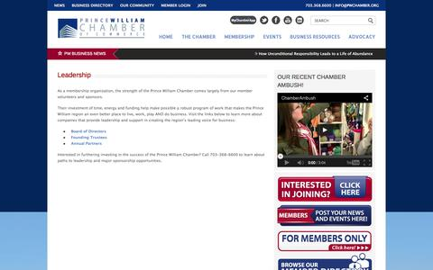 Screenshot of Team Page pwchamber.org - Prince William Chamber of Commerce   |  Leadership - captured Oct. 3, 2014