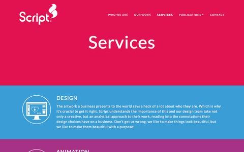 Screenshot of Services Page scriptmedia.co.uk - Services   Script Media - captured Dec. 1, 2016