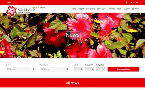 Screenshot of Press Page uroabay.com - UROA BAY Beach Resort | Tanzania - captured Oct. 7, 2014
