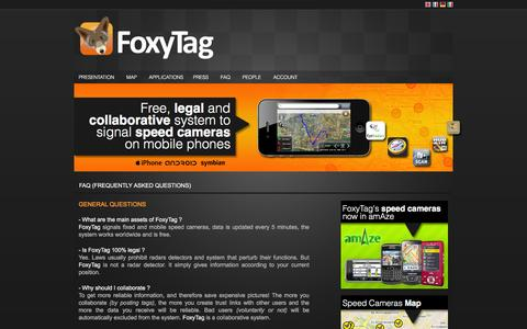 Screenshot of FAQ Page foxytag.com - FoxyTag - Free, legal and collaborative system to signal speed cameras on mobile phones - captured Nov. 25, 2016