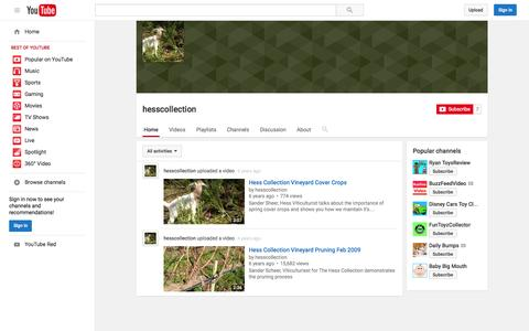 Screenshot of YouTube Page youtube.com - hesscollection  - YouTube - captured Nov. 17, 2015
