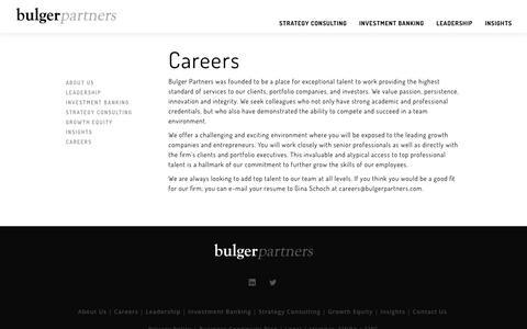 Screenshot of Jobs Page bulgerpartners.com - Bulger Partners » Careers - captured July 31, 2016