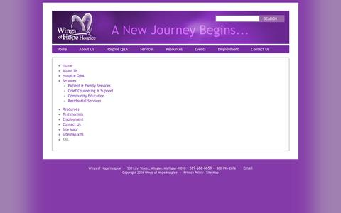 Screenshot of Site Map Page wingsofhopehospice.com - Site Map - Wings of Hope Hospice - captured Jan. 11, 2016