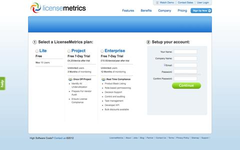 Screenshot of Signup Page licensemetrics.com - Sign up for Metric Software - captured Sept. 16, 2014