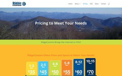 Screenshot of Pricing Page ridgecomms.com - Pricing | RidgeComms - captured Sept. 20, 2018