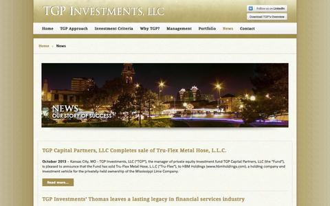 Screenshot of Press Page tgpinvestments.com - News - TGP Investments, LLC - captured Oct. 26, 2014