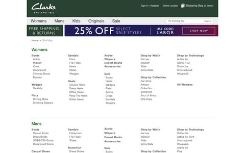 Screenshot of Site Map Page clarksusa.com - Site Map - Clarks® Shoes - captured Sept. 2, 2016