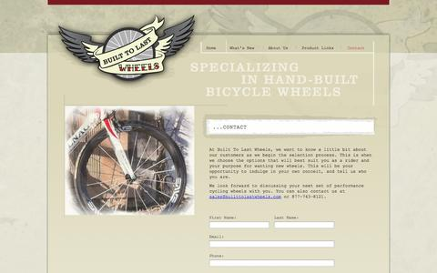 Screenshot of Contact Page builttolastwheels.com - Built To Last Wheels | Custom, Hand-built Bicycle Wheels - captured Sept. 30, 2014