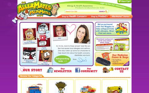 Screenshot of Home Page allermates.com - ALLERMATES - Kids Allergy Awareness Bracelets, Jewelry & Childrens Accessories for Safer Playdates! - captured Sept. 19, 2014
