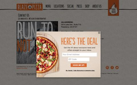 Screenshot of Contact Page blazepizza.com - Contact Us - Blaze Pizza - captured Feb. 10, 2016
