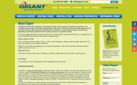 Screenshot of About Page gigant.co.uk - About Gigant UK: Industrial Storage & Furniture for Office & Workshop - captured Oct. 2, 2014
