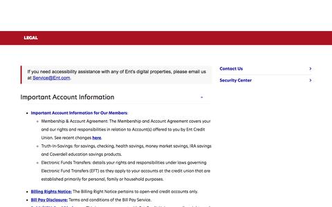 Screenshot of Terms Page ent.com - Important Account & Loan Information   Ent Credit Union - captured Jan. 16, 2020