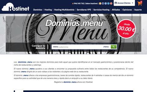 Screenshot of Menu Page hostinet.com - Dominios .menu - captured Sept. 28, 2018