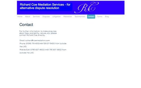 Screenshot of Contact Page coemediation.com - Contact - coemediation.com - captured Sept. 30, 2014