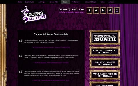 Screenshot of Testimonials Page excessallareas.co.uk - Cabaret Testimonials | Show Feedback | Cabaret Reviews - captured Oct. 28, 2014