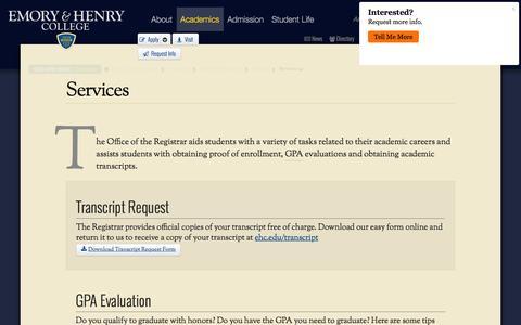Screenshot of Services Page ehc.edu - Services - captured Nov. 6, 2016